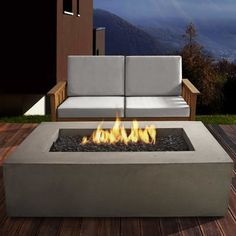 The Real Flame Baltic in. Fire Table - Glacier brings clean burning propane and beautiful design to your patio. This fiber-concrete fire table. Propane Fire Pit Table, Gas Fire Table, Natural Gas Fire Pit, Outside Fire Pits, Rectangular Fire Pit, Outdoor Furniture Sets, Outdoor Decor, Outdoor Spaces, Gas Fires