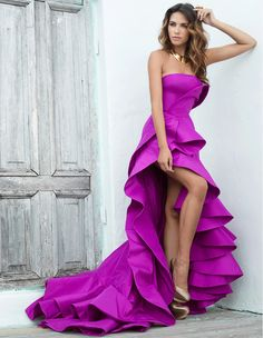 Magenta Silk Gown, custom Magenta-Pink Strapless High-low ruffle Gown.. For Custom Orders contact Paul at edelascasas@aol.com