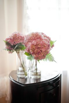 Simple pink hydrangea bouquet. I can't wait to have surfaces to cover with flowers again.