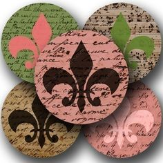 Very crisp scans of different love letters, manuscripts, and handwritten sheet music--many from the 1700s--are added to fleur-de-lis in pinks, chocolates, and greens to make up this printable collage sheet, by piddix.