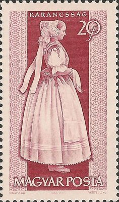 Stamp printed by Hungary, shows provincial   costumes of Karancssag , circa 1963