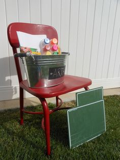 Red Old School Chair -- $12