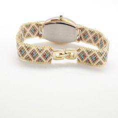 Watches for women-Webbing Geometric Pattern от MariYunJewelry Seed Bead Jewelry, Bead Jewellery, Seed Beads, Beaded Jewelry, Beaded Bracelets, Handmade Jewelry, Beaded Watches, Korean Jewelry, Crafts