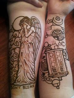 Weeping Angel Tattoo. The exact one I want. Minus the don't blink.