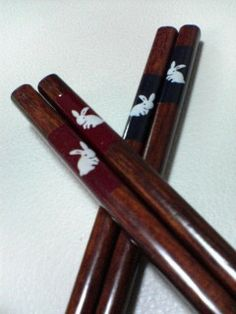 chopsticks with rabbit prints