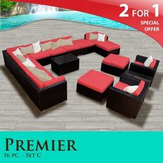 """Premier Outdoor Wicker 16 Piece Patio Set Spice Red Covers -16C by TK Classics. $2987.00. Versatile design for ANY patio size. """"No Sag"""" solid wicker bottoms with extra flexible strapping providing long-lasting suspension. Affordable and comfortable Modular Furniture allows for endless arrangement possibilities. Fully Assembled - ready to relax and enjoy. 4"""" Welted cushions for a luxurious look and feel. 2 for 1 Special: Purchase 1 of our Classic Patio Sets and receive..."""