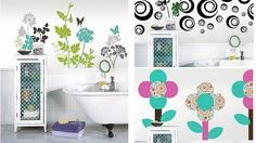 DIY for Renters (NSW Aust) Wall decals are a brilliant way to make a rented space your own. The same bathroom has been decorated with three different sets of decals from wall-pops.com.