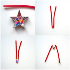 schaeresteipapier: 3x3 Sterne - mit Pfeifenputzer und Perlen Christmas Crafts, Xmas, Ornaments, Simple, Red Dragon