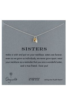 Dogeared 'Sisters' Reminder Pendant Necklace | Nordstrom