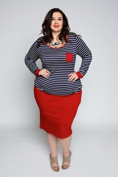 Plus Size Clothing for Women - EmpoweRED Pencil Skirt (Sizes 24 - 32) - Society+ - Society Plus - Buy Online Now!