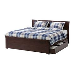 BRUSALI Bed frame with 4 storage boxes, brown, Lönset - brown - Full - Lönset - IKEA