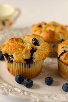 The best Blueberry Muffins I have ever had, plus 9 other muffin recipes I cant wait to try! Easy Blueberry Muffins, Blue Berry Muffins, Blueberries Muffins, Homemade Muffins, Blueberry Recipes, Mini Muffins, Cupcakes, Yummy Food, Tasty