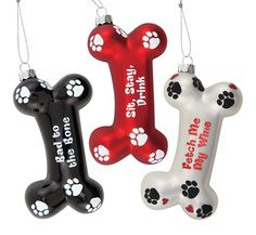 Sparkly Dog Bone Ornaments from Epic Products Inc. Christmas Displays, Christmas Holidays, Christmas Ornaments, Bones, Dog, Pets, Holiday Decor, Products, Christmas Vacation