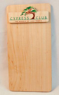 Custom magnet made for Cypress Club! Check Presenter, Lake Travis, Fort Collins, Menu Restaurant, Bamboo Cutting Board, Presents, Club, Wood, Unique