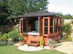 Hot Tub Ideas Backyard if you have a pool you can make a jacuzzi its part Find This Pin And More On Backyard Ideas Gazebo Over Hot Tub
