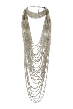 Mega Seedbead Multirow Necklace : Silver look beads with chocker beaded section continuing into a long beaded multirow