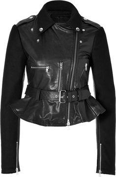 Leather Wool Biker Jacket in Black - Lyst