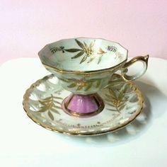 Vintage LM ROYAL HALSEY TEACUP & SAUCER ~ Gold Pink Floral LUSTREWARE ~ Lace Rim #ROYALHALSEY