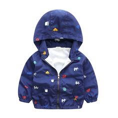 New Arrival 2017 Autumn Winter Baby Boy Car Print Jackets Hooded Softshell Jacket For Boys Kids Coat Children Clothes #Affiliate