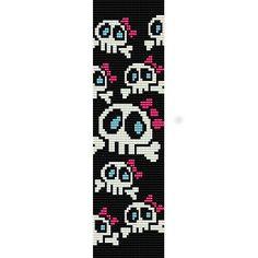 Girly Skulls - beading cuff bracelet pattern for peyote or loom ( Buy Any 2 Patterns - 3rd. FREE ) - pdf. $4.00, via Etsy.