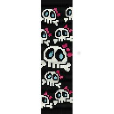 Girly Skulls - beading cuff bracelet pattern for peyote or loom ( Buy Any 2 Patterns - 3rd. FREE ) - pdf. $4.00, via Etsy.