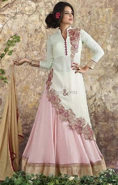 image of Ravishing Cream Silk Designer Suit For Women