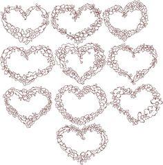 Advanced Embroidery Designs - Redwork Flower Heart Set