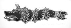 Draco the Dacian wolf original linocut by AnaMariaGruiaART Simbols Tattoo, Dragon Wolf, Tattoo Flash Art, Fantasy Character Design, Ancient Symbols, Black Paper, Symbolic Tattoos, Draco, White Ink