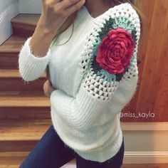 Rose Crochet Top ➳ Brand New ➳ Size Small  ➳ Rose crochet super soft sweater   ❣ Feel free to ask me questions. Modeled by me. Tops