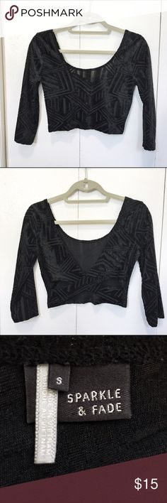 Urban Outfitters Sparkle+Fade crop top Black velvet crop top with geometric pattern and cross back Sparkle & Fade Tops Crop Tops