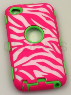 """inMOGUL(TM) Pink + Green Zebra Stripes Commuter (Full Body Armor) Apple iPod Touch 4 4G 4th Generation Silicone Protective Tough Case (Sealed in inMOGUL(TM) Packaging) """"Ultra Durability Guarantee + Built In Screen Protector"""" by inMOGULbrand, http://www.amazon.com/dp/B00DJXON8K/ref=cm_sw_r_pi_dp_HSB6rb16EN6P5"""