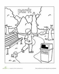 Preschool Places Worksheets Park Coloring Page
