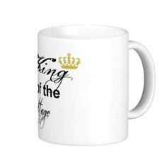 King of the Cottage Word Art Mug, Graphic Design. Let him know he's the man of the house with his very own King Coffee Mug. Black text and gold crown (queen available also). Choose your own mug style and size. #king #crown #cottage #coffeeMug #coffeeCup #MargaretNewcomb Visit my Zazzle Store at: http://www.zazzle.com/serenitygardens?rf=238170457442240176