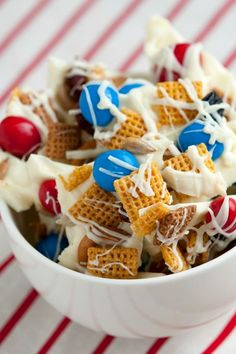 Patriotic Chex Mix® - perfect snack for The Fourth of July Muesli, Granola, 4th Of July Desserts, Fourth Of July Food, July 4th, Patriotic Desserts, Blue Desserts, Picnic Desserts, Summer Desserts