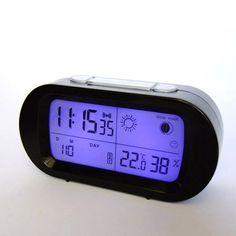 Black LED snooze alarm clock with backlight calendar weather station modern digital clock Digital Alarm Clock, Alarm Clocks, Calendar, Coding, Weather, Led, Cool Stuff, Modern, Real People