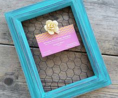 Shabby Chic Aqua Chicken Wire Frame by whatsyoursigndesigns, $11.00