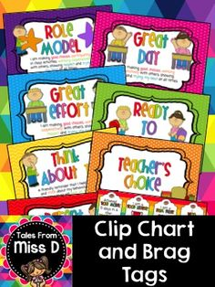 Implement the Clip Chart in your classroom with this bright and colourful set! Miss D, Showing Respect, Brag Tags, Classroom Behavior Management, I Can Statements, Kids Study, Charts For Kids, Teaching Language Arts, School Teacher