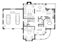 First Floor Plan of Country   Victorian   House Plan 65315