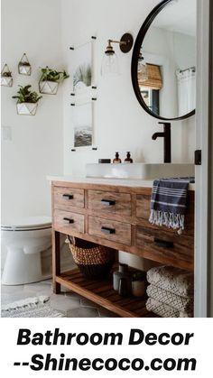 White Bathroom, Small Bathroom, Bathroom Ideas, Diy Bathroom Vanity, Rustic Bathroom Vanities, Master Bathroom, Neutral Bathroom, Bathroom Inspo, Bathroom Designs