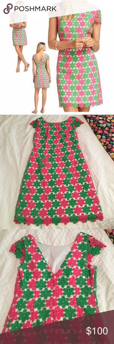 Lace Lilly Pulitzer Shift Dress Gorgeous pink and green Floral Lace Shift. Perfect for spring and Easter! No flaws, worn twice. Cute cap sleeves! Make me an offer! Lilly Pulitzer Dresses Mini