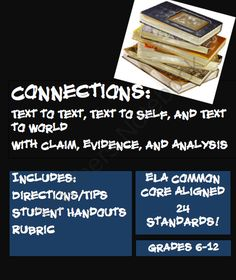 Connections: Text to Text, Text to Self, Text to World from Mrs.EAE on TeachersNotebook.com -  (6 pages)  - Text to Text, Text to Self, Text to Text Practice and Rubric