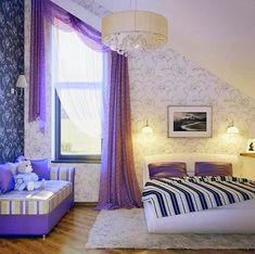 Beautiful Curtains For Girls Bedroom Decoration : Lovely Purple Girls Bedroom Curtain Idea with Beautiful Drum Chandelier and BlackWhite Floral Wall Decal also Black and White Quilt Bed in Awesome Girls Bedroom Girls Bedroom Curtains, Cute Curtains, Beautiful Curtains, Teen Girl Bedrooms, Bedroom Decor, Girl Rooms, Beautiful Bedrooms, Bedroom Ideas, White Quilt Bedding