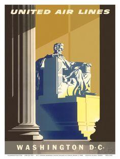 Washington D.C., President Lincoln Memorial, United Air Lines Art Print