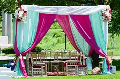 wedding mandap | Pink Mint Green Chic Indian Wedding NYC | Camera Famosa
