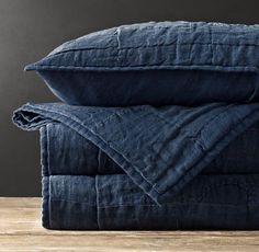Vintage Patchwork Linen Coverlet Sham from Restoration Hardware. Mine are in 'Graphite' . Textiles, Mood Indigo, Indigo Blue, Cobalt Blue, American Quilt, Country Blue, Bed Linen, Linen Fabric, Linen Bedding