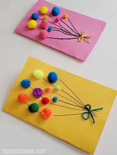 Pom Pom Balloons Birthday Card for Kids #thejoyofsharing #birthdaycards #handmadecards #papercrafts #diycards #greetingcards via @4joyofsharing Homemade Birthday Cards, Kids Birthday Cards, Diy Birthday, Rainbow Birthday, Baby Birthday Card, Daycare Crafts, Preschool Crafts, Fun Crafts, Card Crafts
