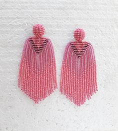 Your place to buy and sell all things handmade Pink Tassel Earrings, Bead Earrings, Statement Earrings, Bead Embroidery Jewelry, Beaded Embroidery, Bead Jewellery, Beaded Jewelry, Native Beadwork, Craft Accessories