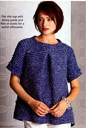♥ Ravelry: Swingy Sweater pattern by Mari Lynn Patrick - Blue crocheted A-line short-sleeve textured sweater / top