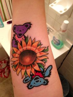 Grateful Dead tattoo done by Dustin at Passionfish. in black and grey Grateful Dead Tattoo, Grateful Dead Bears, X Tattoo, Cover Tattoo, Piercing Tattoo, Body Art Tattoos, Bear Tattoos, Tatoos, Tattoo Quotes