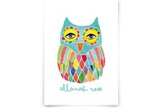Watercolor Rainbow Owl Art Prints by Pip Gerard at minted.com